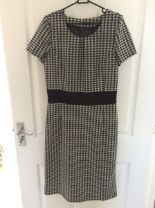 Finished version in houndstooth fabric from Fabric Land