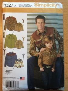 Simplicity 1327 Boys' and Men's Western Shirt