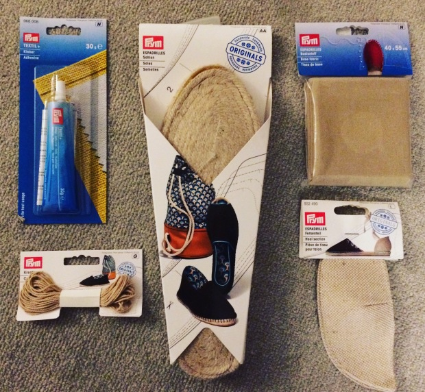 make your own espadrilles - supplies from Minerva Crafts